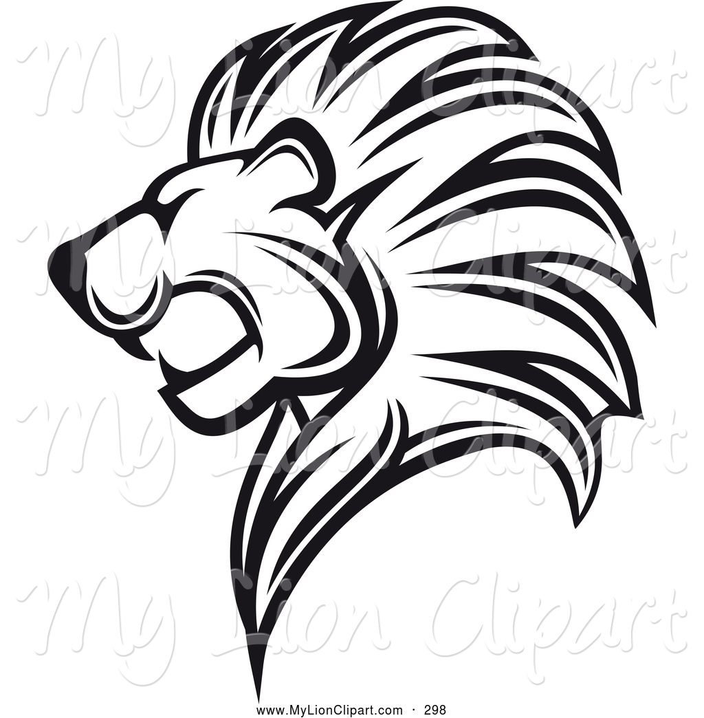 Roaring Lion Clipart Clipart Of A Black And White Roaring Lion Logo By