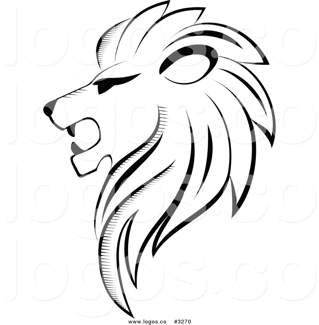 Royalty Free Vector Of A Black And White Lion Head Logo By Seamartini