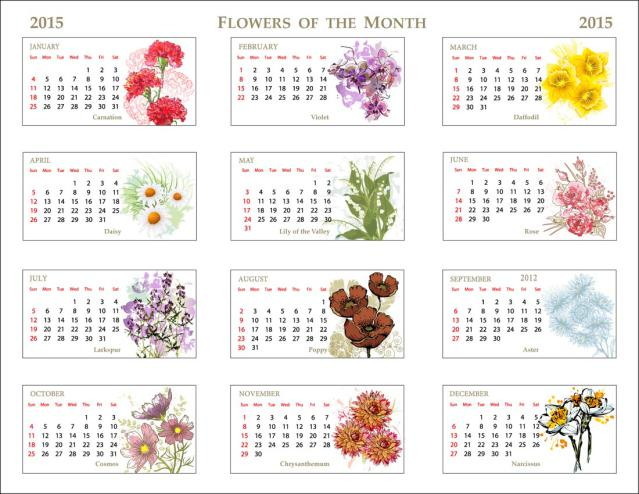 Clip Art Of A 2015 Flower Of The Month Calendar  Photo Credit  Dixie