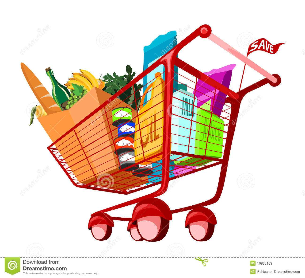 Grocery Cart Clip Art Groceries In Shopping Cart