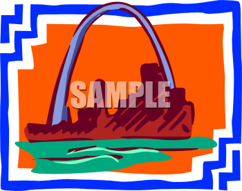 Mississippi River And St Louis Arch   Royalty Free Clip Art Picture