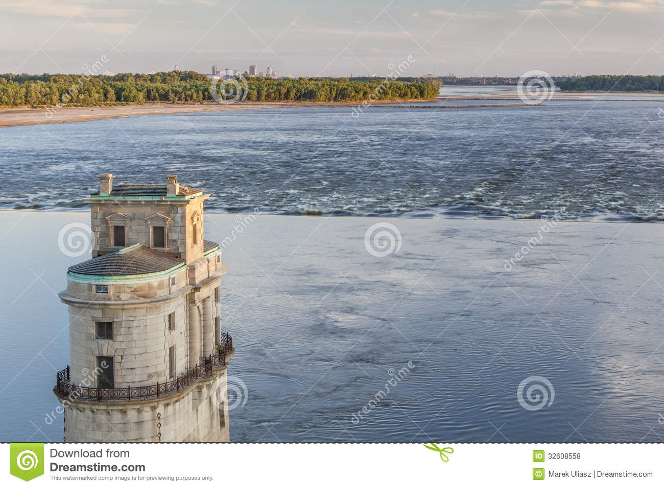 Mississippi River At Chain Of Rocks With Historical Water Intake Tower