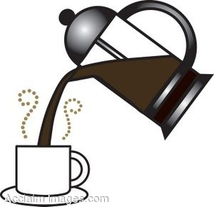 Press Pouring Fresh Hot Coffee Into A White Coffee Cup  Clipart