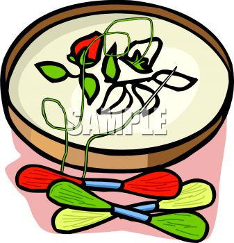 Royalty Free Clip Art Image  Floral Pattern On An Embroidery Hoop