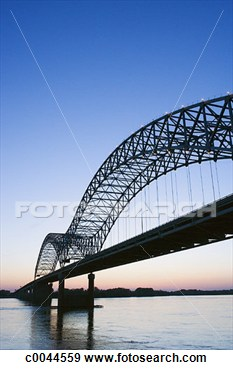 Stock Photograph Of Hernando Desoto Bridge Over The Mississippi River