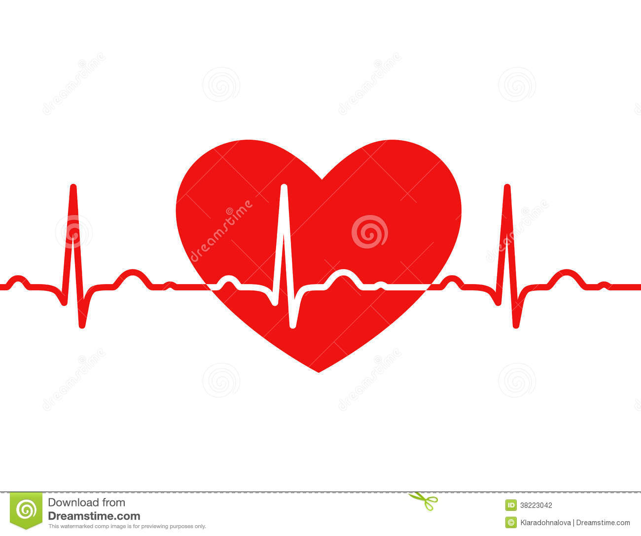 Stock Photography  Red Heart With Ekg On White   Medical Design