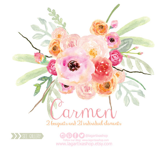 Watercolor Clipart Floral Png Wedding Bouquet Arrangement Bouquet