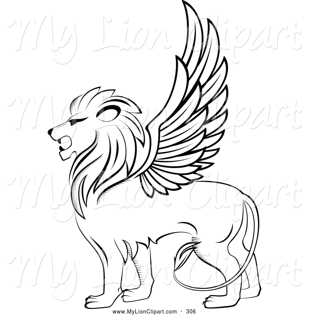 Winged Lion Logo Looking Left Lion Clip Art Seamartini Graphics