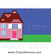 Avenue Clipart Of A Pink House With A Green Lawn By Prawny