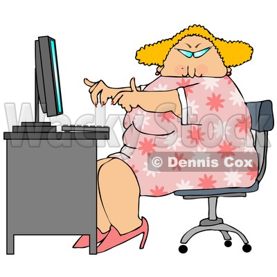 Blond Secretary Woman Working At A Computer Desk In An Office Clipart