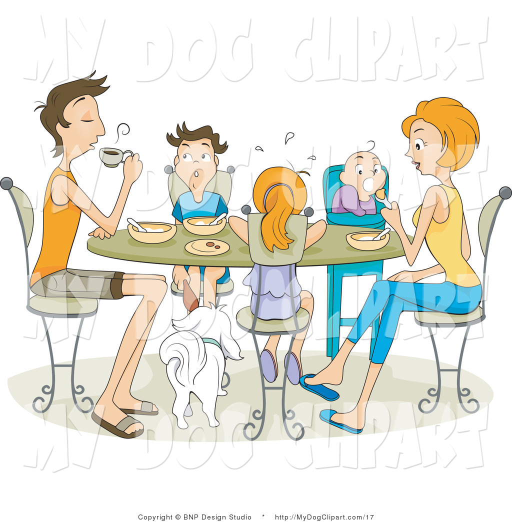 Clip Art Of A Family Of Five Sitting With Their Dog Eating Together At