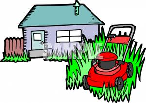 Clipart Image Of A Lawn Mower Cutting Grass Outside A House