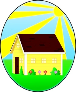Home Clipart Image   Yellow Cartoon House On A Sunny Spring Day With A