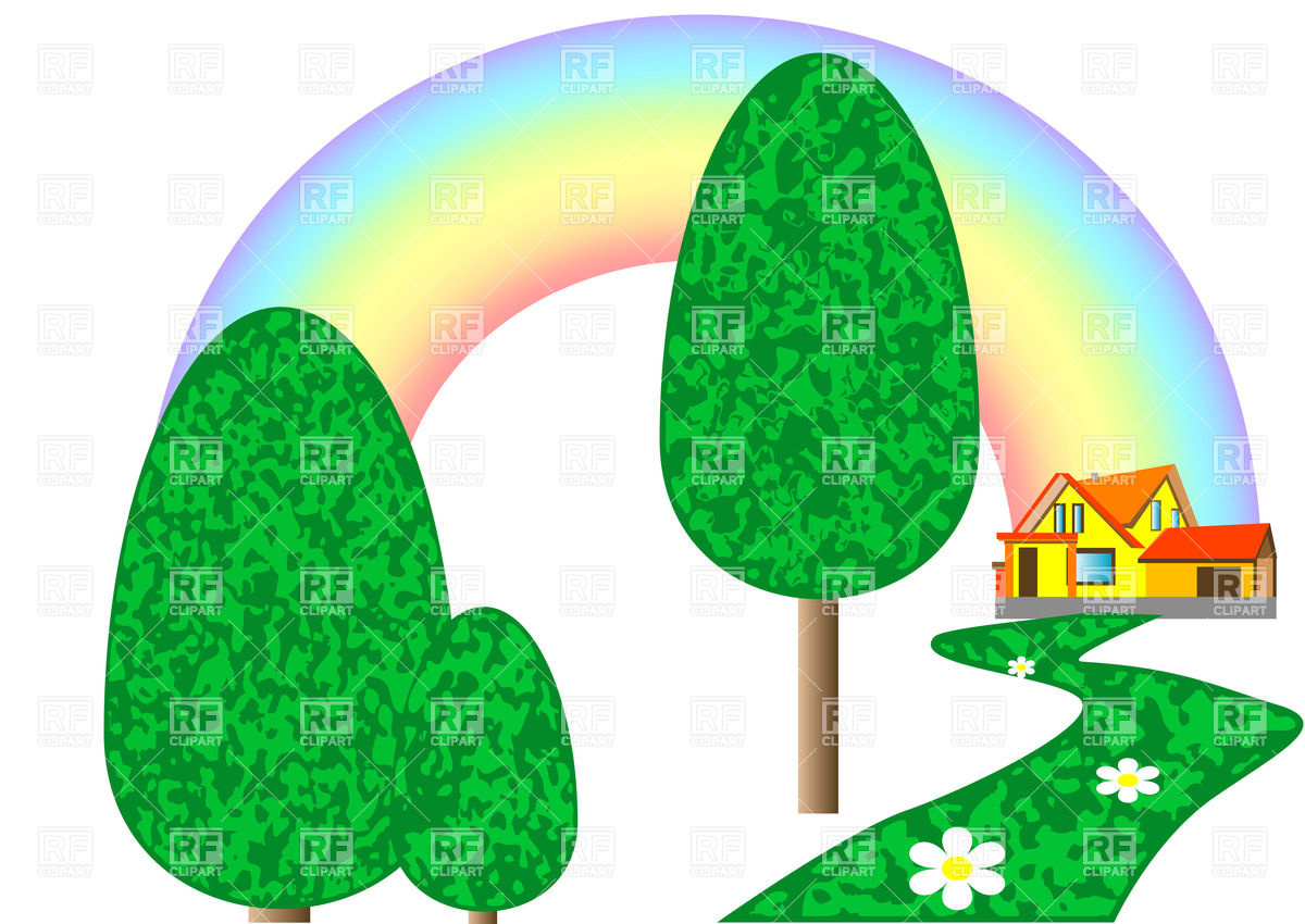 House On The Lawn With Rainbow Download Royalty Free Vector Clipart