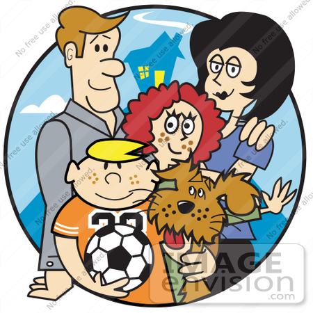 Of A Happy Family Of Four With A Dog And A Soccer Ball By Andy Nortnik