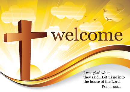 Pc7096 Welcome To Our Church Logo Postcard Welcome Your New Visitors