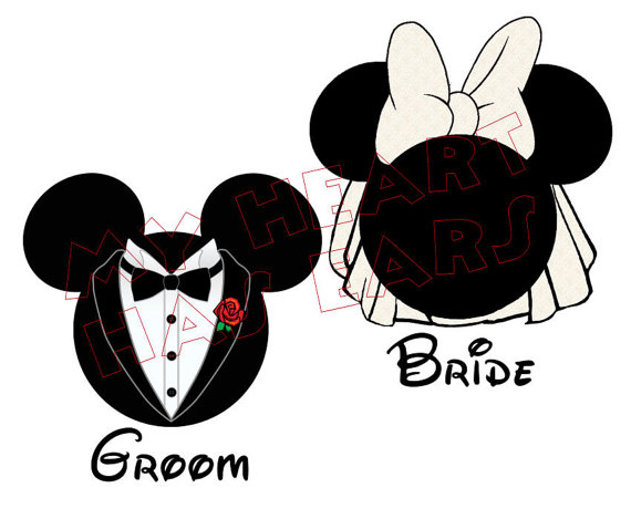 Printable Diy Mickey Mouse Groom   Minnie Mouse Bride Iron On