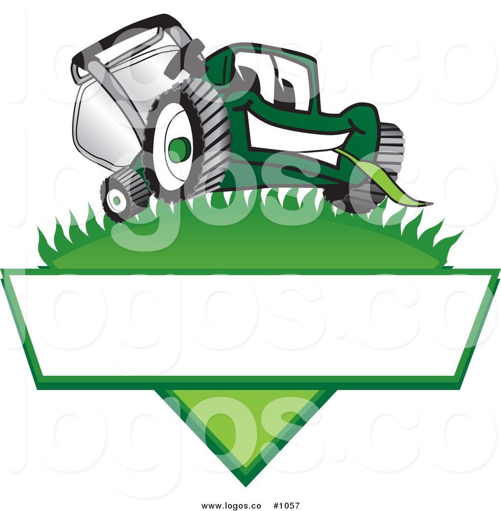 Royalty Free Cartoon Vector Logo Of A Green Lawn Mower Mascot On Grass