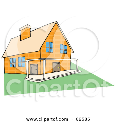 Royalty Free  Rf  Clipart Illustration Of A Yellow Stone House With A