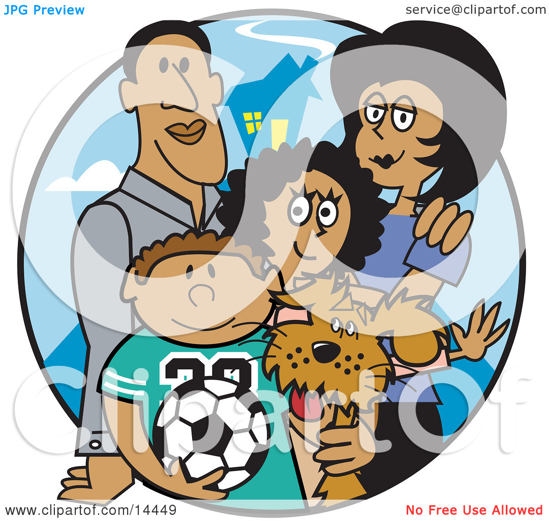 Son Daughter And The Family Dog Clipart Illustration By Andy Nortnik