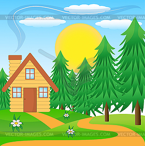 Wooden House On Green Lawn Near Forest   Vector Clipart