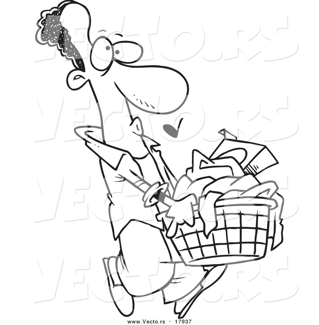 Laundry basket black and white clipart clipart suggest for Laundry coloring pages