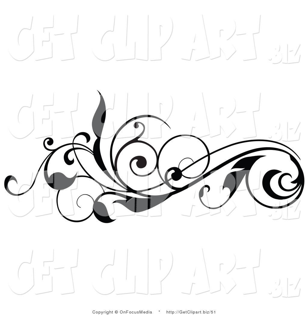 Curl Clipart Clip Art Of A Curly Black Silhouetted Leafy Scroll