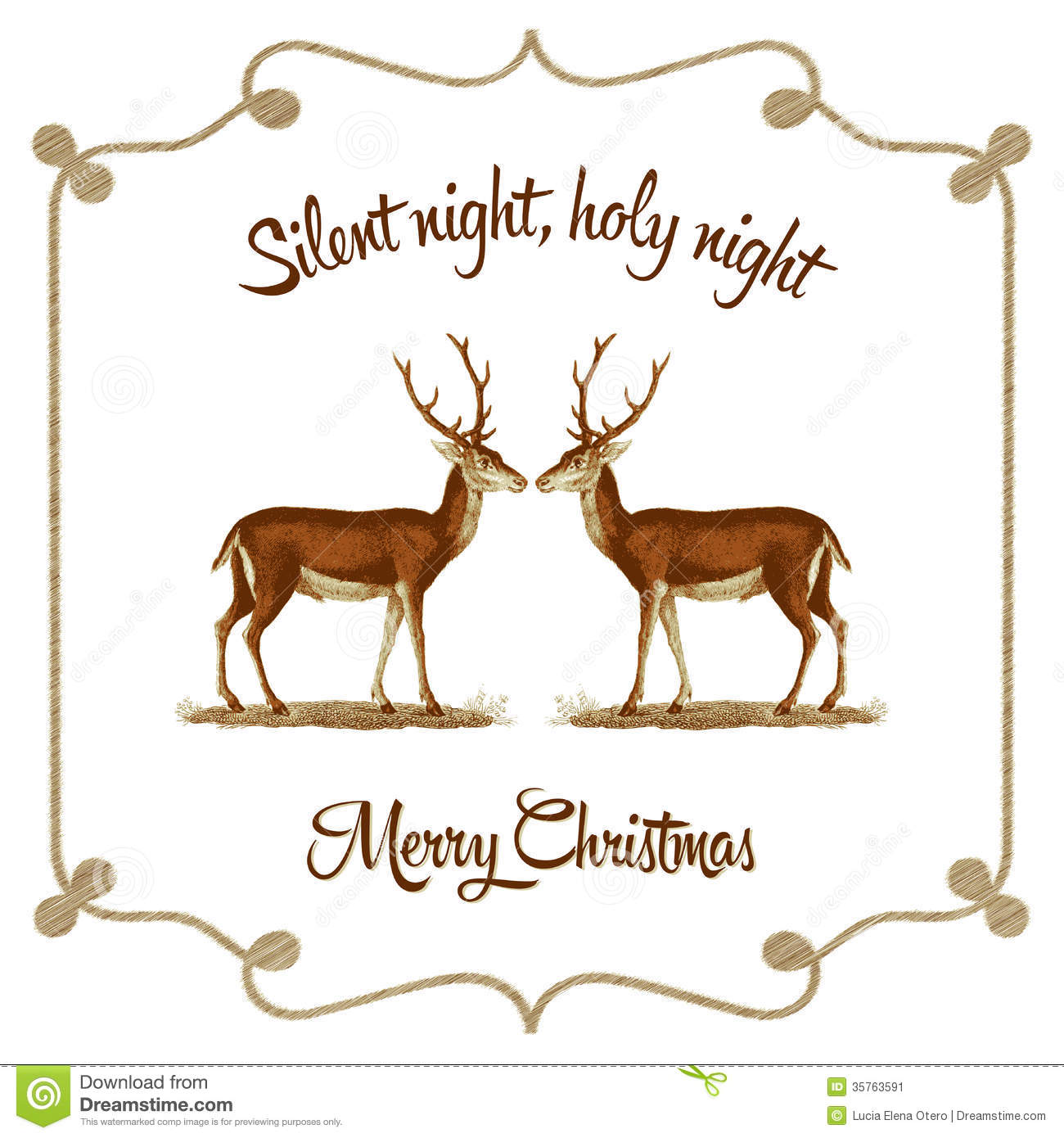 Greetings Card With Vintage Style  It Reads Silent Night Holy Night