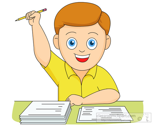 School   Boy Happy He Completed His Exam Test   Classroom Clipart