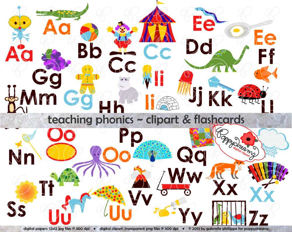Worksheet Teaching Kindergarten Phonics phonics for teachers clipart kid teaching digital flashcards by poppydreamz