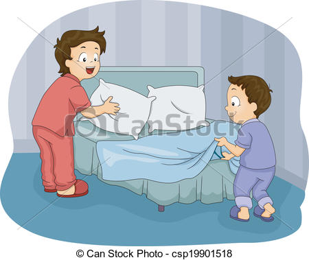 Vector Clip Art Of Boys Making Bed   Illustration Of Two Little Boys