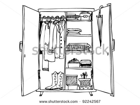 Wardrobe With Clothes Stock Vector Illustration 92242567