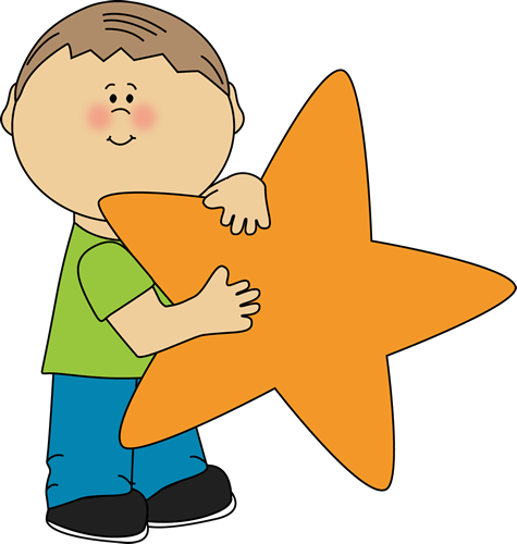 An Orange Star Clip Art Image   Little Boy Holding A Blank Orange Star