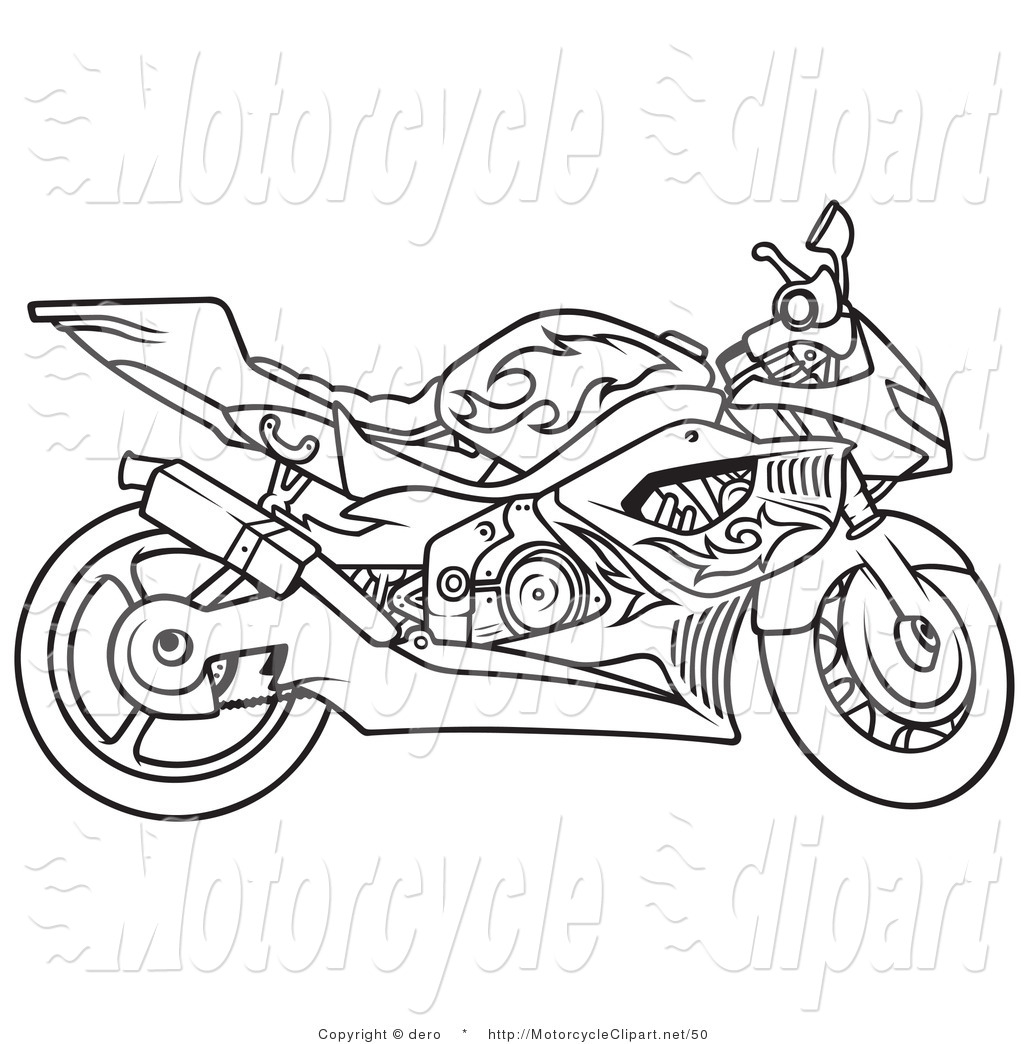 And White Outline Of A Motorcycle Motorcycle Clip Art Dero