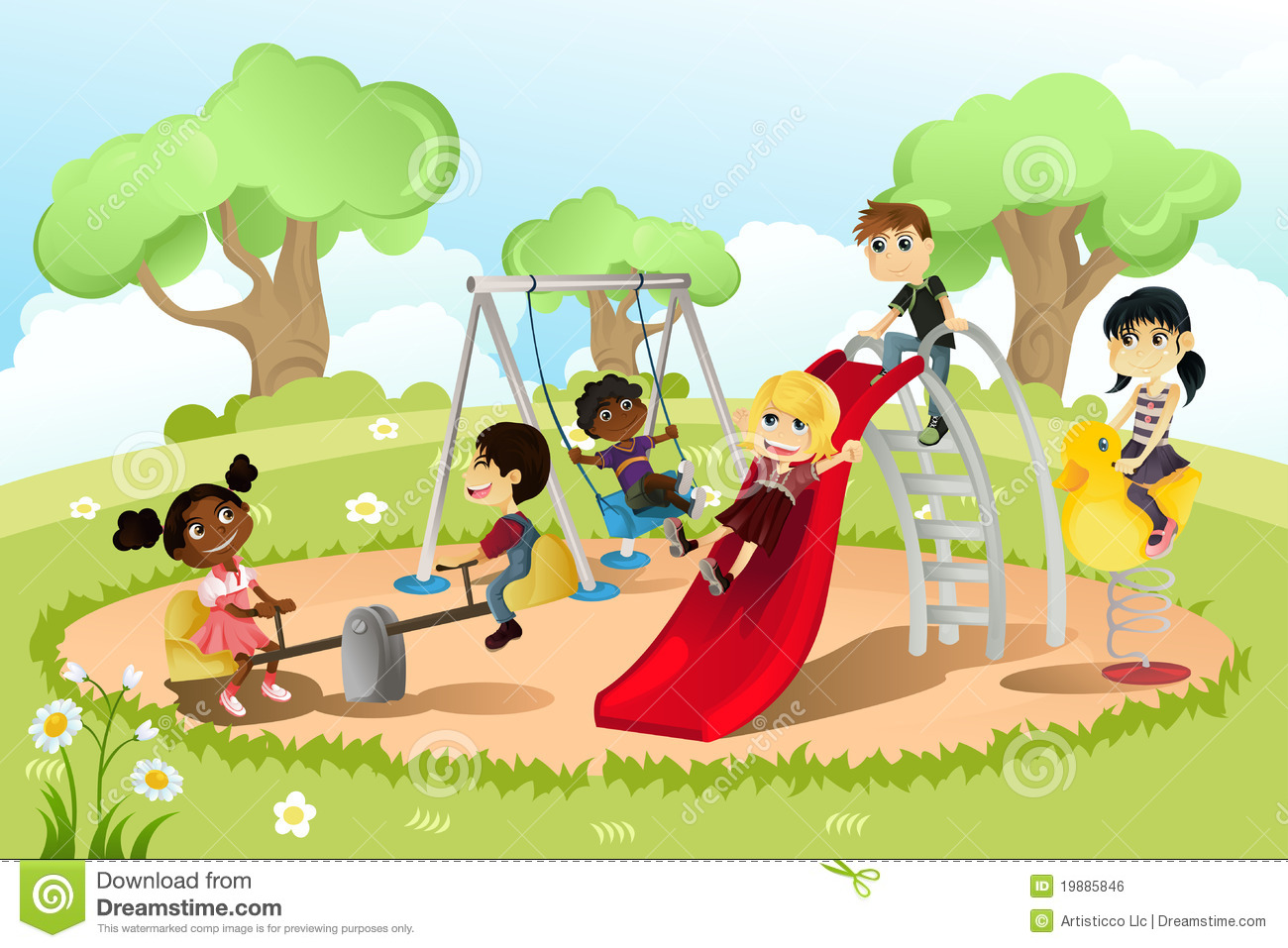Children In Playground Royalty Free Stock Image   Image  19885846