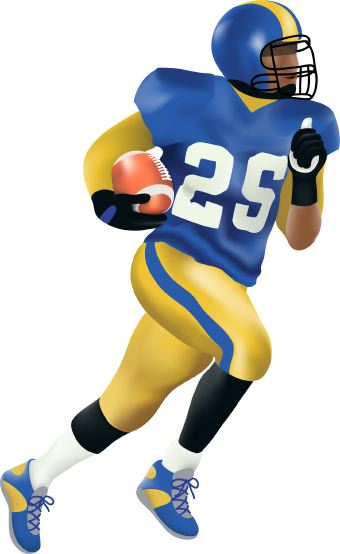 Clip Art Of Football Running Back Carrying A Football