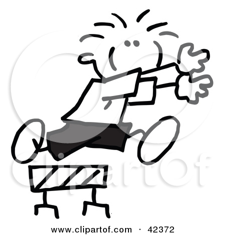 Clipart Illustration Of A Stick Figure Running And Leaping Over A