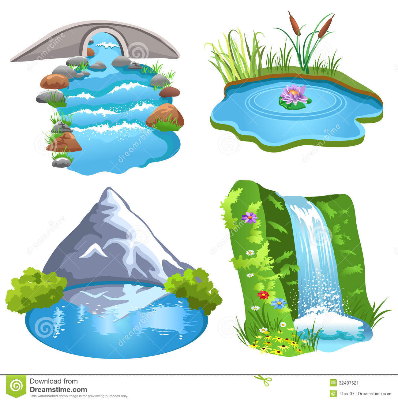 Four Examples Of Water Brook Pond Lake Waterfall Isolated On A