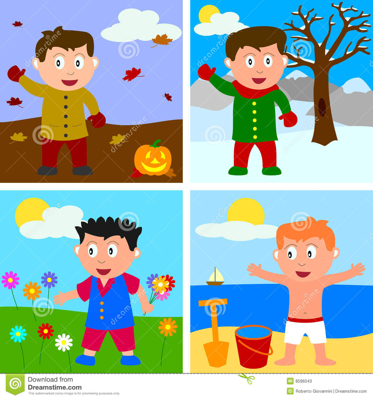 Clip Art Seasons Clipart all seasons clipart kid four boys in autumn winter spring and summer eps file