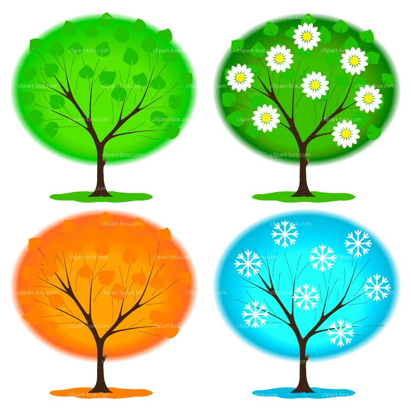 Four Seasons Clip Art Clipart Trees 4 Seasons