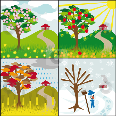 Four Seasons On A Hill Stock Vector Clipart Four Seasons Tree On A