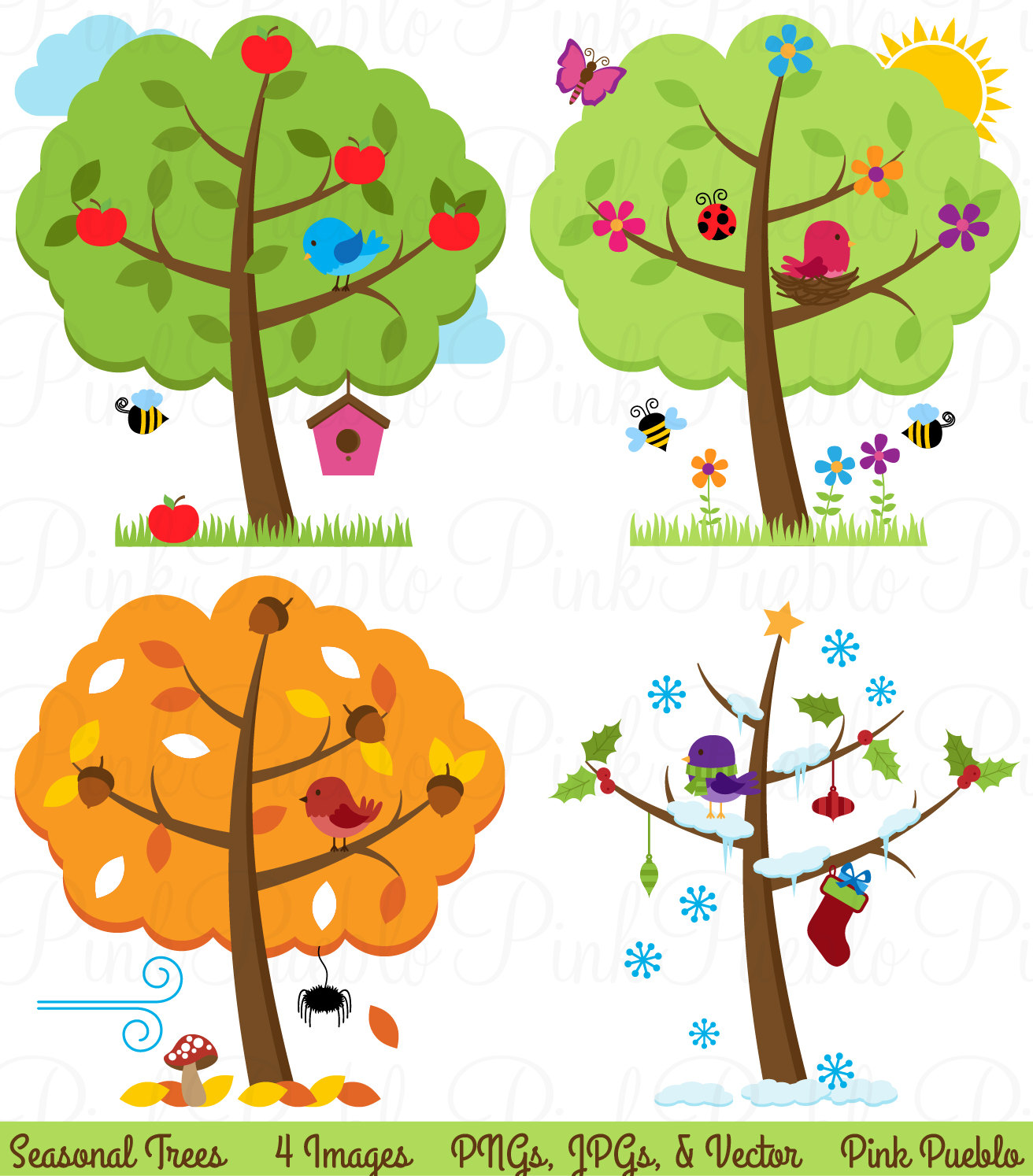 Four Seasons Trees Clipart Clip Art Seasonal Trees By Pinkpueblo