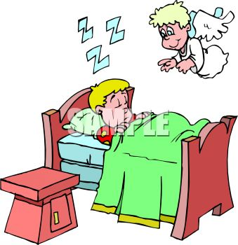 Free clip art image cartoon of an angel watching over a for Bed stories online