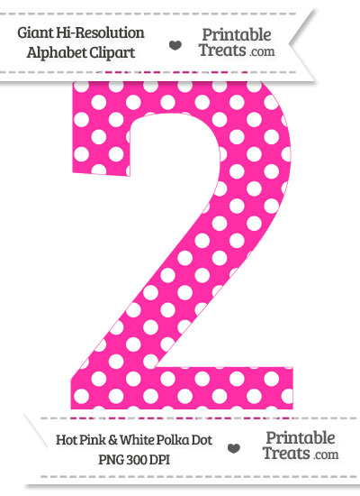 Hot Pink Polka Dot Number 2 Clipart From Printabletreats Com