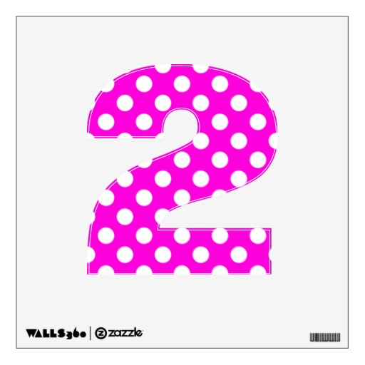Hot Pink Polka Dot Number 2 Wall Decal