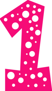 Number 1 Pink And White Polkadot Clip Art At Clker Com   Vector Clip