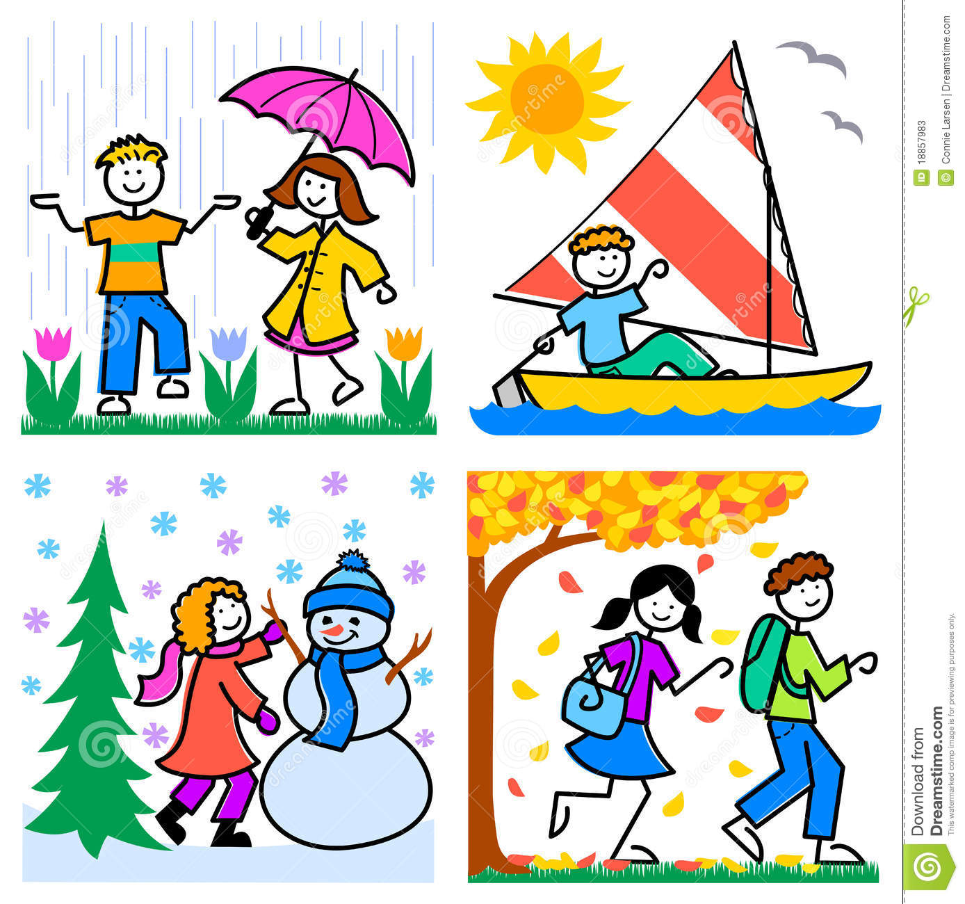 Of Active Children In Activities Representing The Four Season