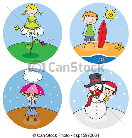 Of Children Showing The Four Seasons Csp15970864   Search Clipart