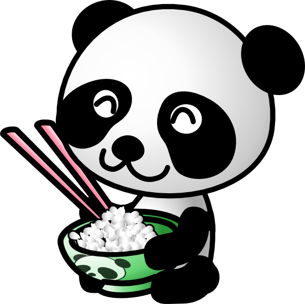 Panda Eating Rice Clip Art At Clker Com   Vector Clip Art Online