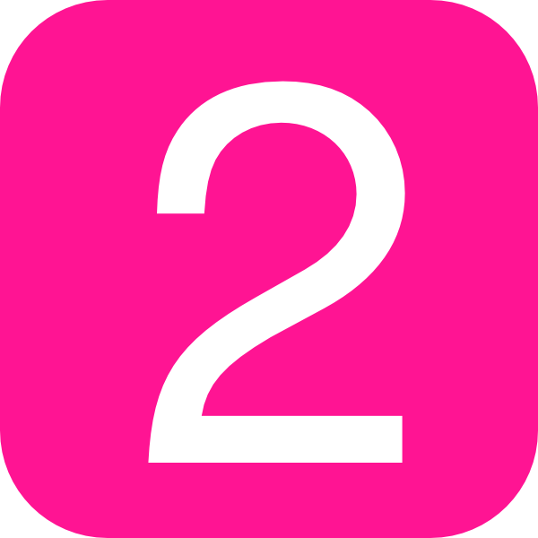 Pink Rounded Square With Number 2 Clip Art
